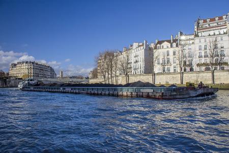 Boat platform on sena river in Paris, france Stock Photo
