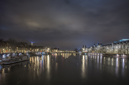 Paris river reflections, hight time, panoramic view