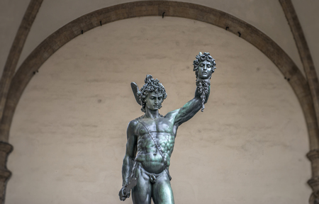 Statue of Perseus Holding the Head of Medusa, close-up view