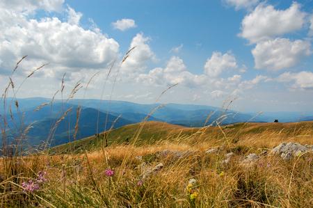 Mountain view, blue sky