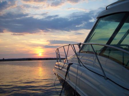 yaht port at sunset photo