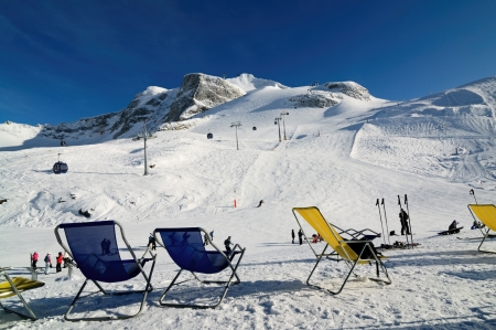 Chairs on the ski piste in Hintertux Zillertal, Austria Stock Photo