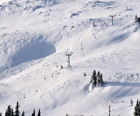 ski lift chairs on hillside, Vitosha Mountain, Bulgaria