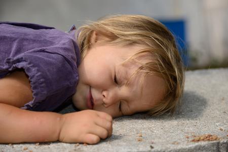 The sleeping small, beautiful girl