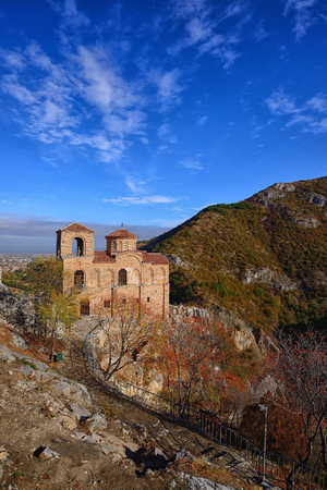 Castle Asenova Krepost in Bulgaria with clouds and beautiful sky Editorial