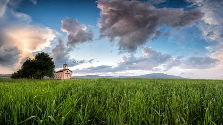 A church on a meadow in Bulgaria.