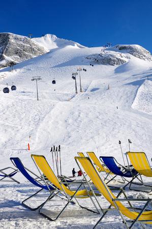 Chairs on the ski piste in Hintertux Zillertal, Austria Stock Photo