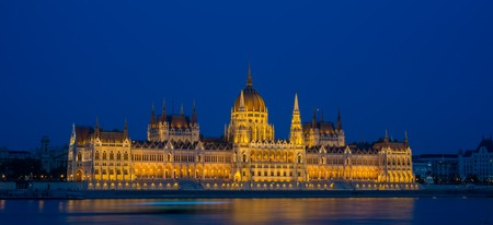 The Hungarian Parliament Building on the bank of the Danube in Budapest Stock Photo