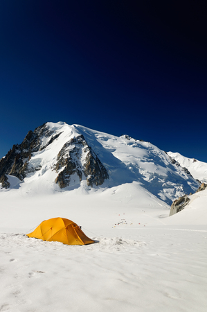 Touristic tent on big mountain in valey near Mont Blanc, France