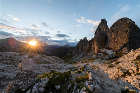 Great view of the top Cadini di Misurina range in National Park Tre Cime di Lavaredo. Dolomites, South Tyrol. Location Auronzo, Italy, Europe. Stock Photo