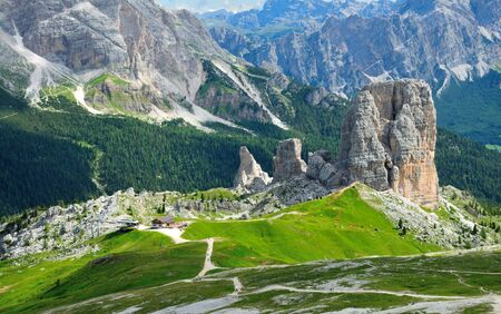 Famous place of the world, Cinque Terre near Cortina in Italian Dolomites. Italy, Europe