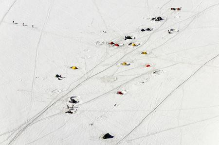 Touristic tents near Aiguille du Midi, Mont Blanc massive, France