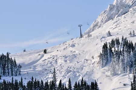 Ski zone Vitosha, Bulgaria in sunny day