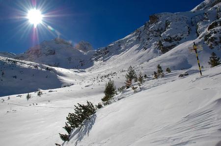 Sunny Winter view with peak Maliovica in Rila national park, Bularia
