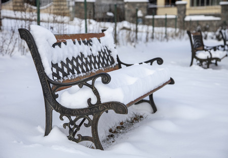 Bench of love with snow in Sofia, Bulgaria Stock Photo