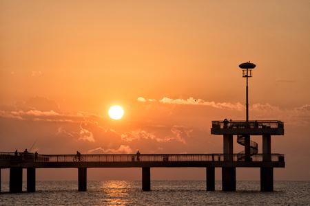 Romantic sunset moment on bridge in Burgas, Bulgaria