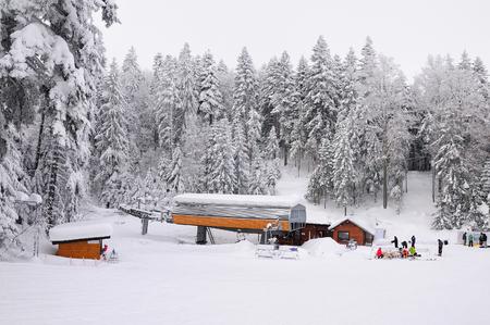 ski-lift in Borovec ski resort, Bulgaria,heavy snow Stock Photo