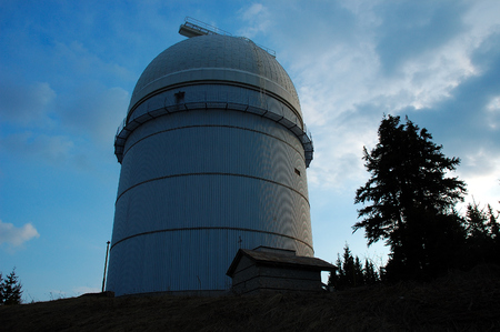 sunset at the observatory on mount Mauna Kea in Hawaii Editorial