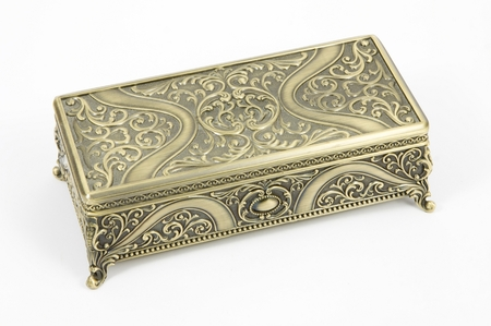 being the case: gold casket on a white background