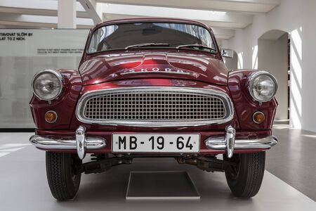 chrom: Skoda Auto Museum in Mlada Boleslav. Automobile museum presents the history of the company Skoda Auto and it is predecessor Laurin & Klement