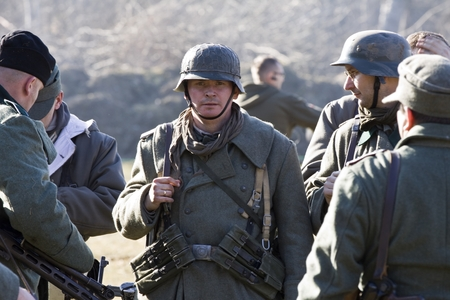 ww2: Re-enactment of the battle of the World War II. Anniversary of the liberation of the city of Poznan