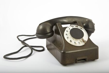 dialplate: an old black telephone Stock Photo