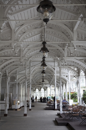 vary: Old pavilion in Karlovy Vary in Czech Republic
