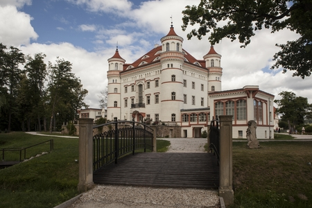 skie: Historic building of Palace Wojanow. Wojanow is a city in Lower Silesia, south-western Poland