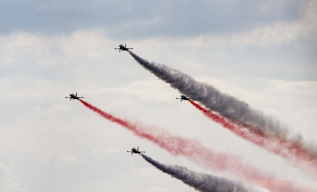air demonstration: The Turkish Stars are the aerobatic demonstration team of the Turkish Air Force and the national aerobatics team of Turkey.