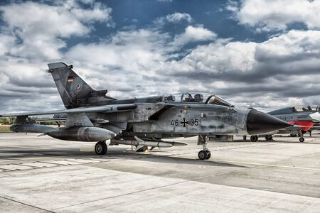 variable: The Panavia Tornado is a family of twin-engine, variable-sweep wing combat aircraft. Manufactured by Italy, the UK, and Germany.