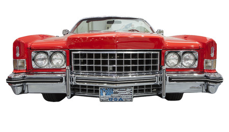 old and classic american car isolated