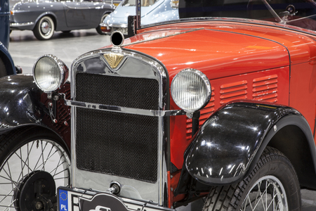 Old vintage car display at the International Fair in Poznan Editorial
