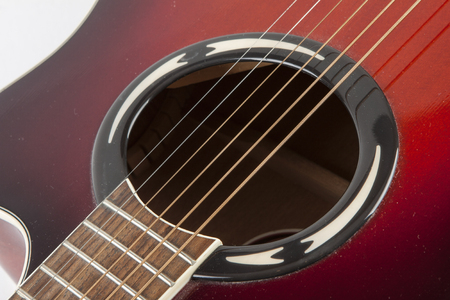 rapprochement: acoustic guitar on white background Stock Photo