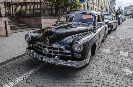 Old car on a street in Vilnius