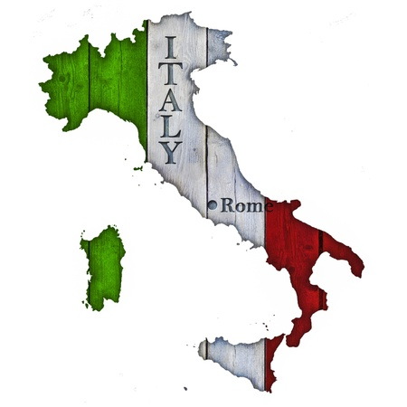 Italy Map and Flag on Wood photo