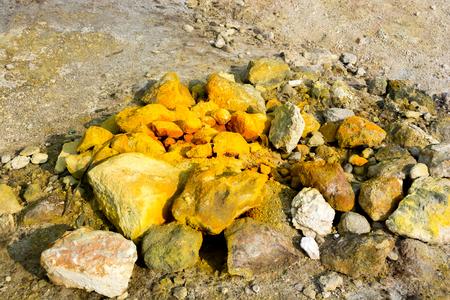 Sulfur rocks in Campi Flegrei volcano, Italy