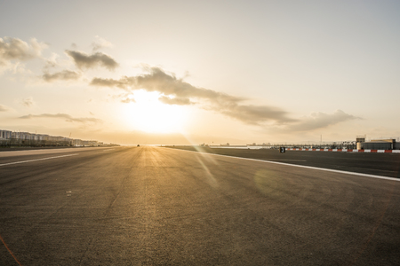 Gibraltar airport at sunset