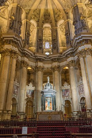 MALAGA, SPAIN - September 16, 2017: Interior view of the cathedral of the Incarnation in Malaga, Spain, Andalusia, on a saturday afternoon Editorial