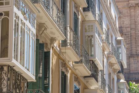 Old tenement house decorative windows Reklamní fotografie