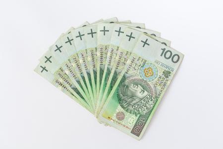Polish money flat lay shot polski zloty