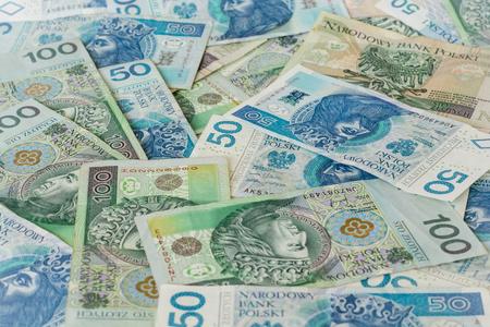 Polish money flat lay shot