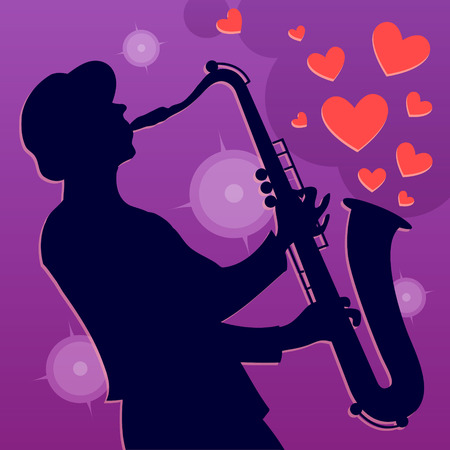 Jazz saxophone player. Saxophonist musician on romantic background with hearts. Vector Illustration