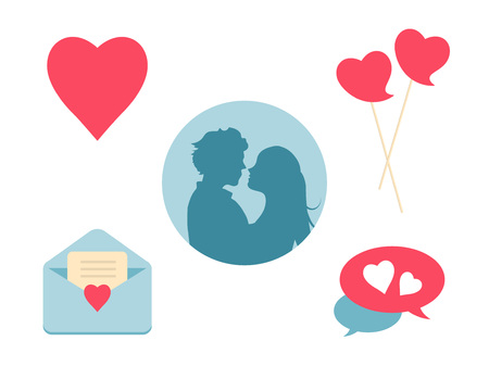 Love heart icon set. Design elements for Valentines Day and wedding. Romantic collection symbols isolated on white background. Vector illustration. Ilustrace