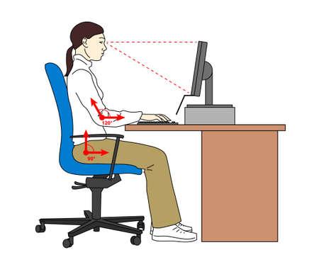 Posición ergonómica postura sentada. Asiento correcto cuando se utiliza una computadora. Mujer en su lugar de trabajo. Ilustración vectorial