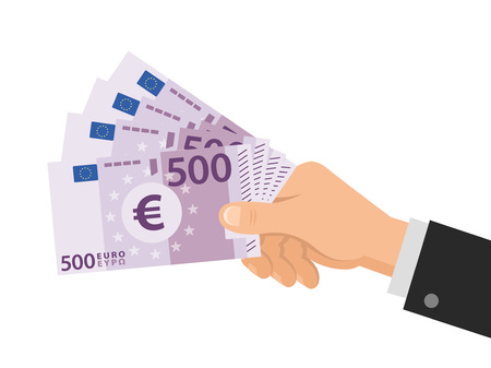 Hand holds money Euro 500 banknotes. Business concept. Isolated on white background. Flat Style. Vector illustration.