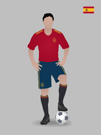 Soccer player with ball. Spain national football team. Vector illustration.