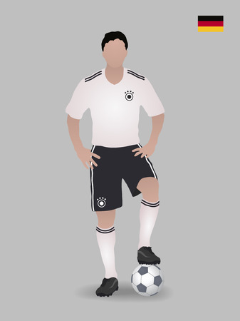 Soccer player with ball. Germany national football team. Vector illustration Ilustrace