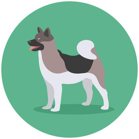 Dog Breed Akita Inu. Design Label Vector Illustration