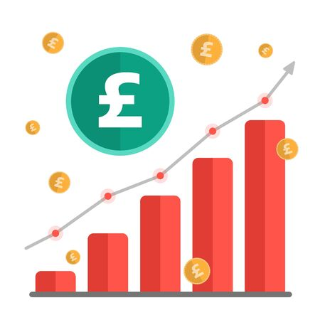 Growing money concept. UK Pound sign with chart, rising arrow and coins Vector illustration.