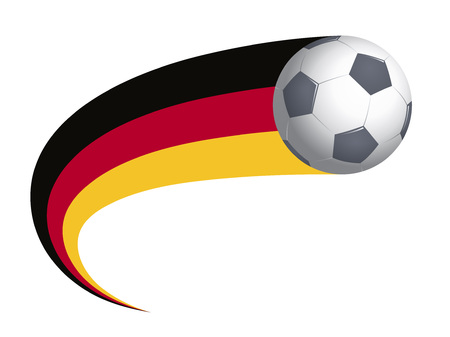 Soccer ball with Germany flag. Symbol of national football team. Vector illustration.